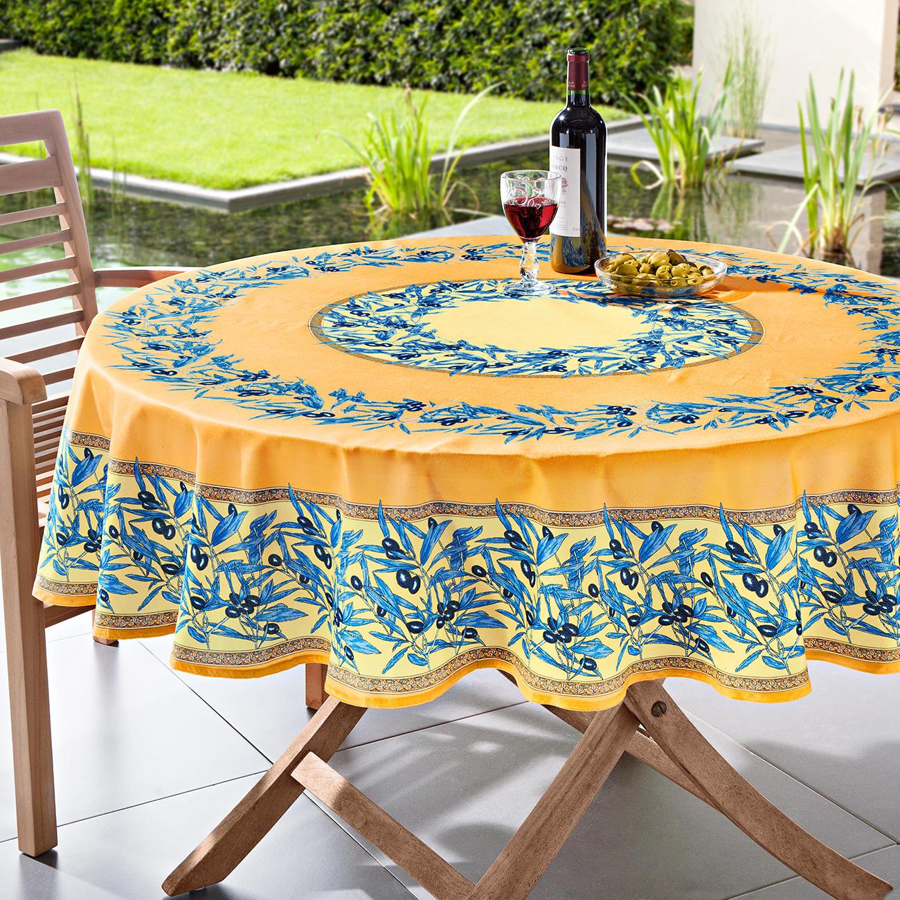 abwaschbare oliven tischw sche 160 x 160 cm blau wei. Black Bedroom Furniture Sets. Home Design Ideas