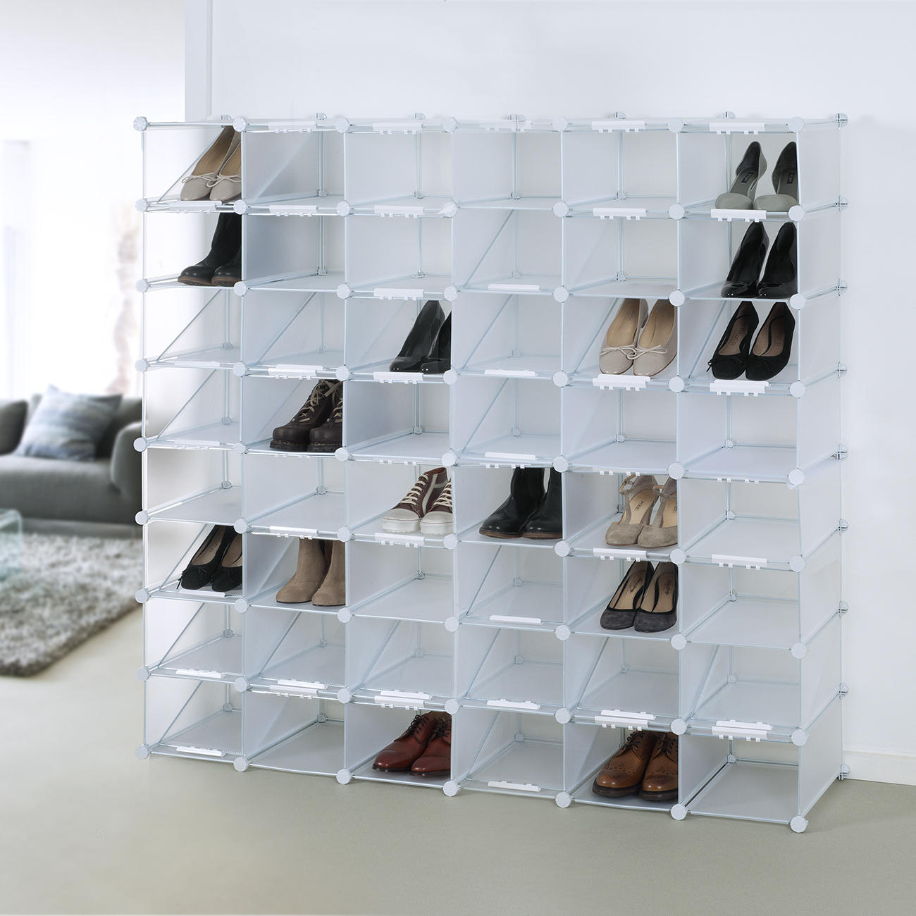 stiefel organizer cubes schuhregqal 8 f cher erweiterbar. Black Bedroom Furniture Sets. Home Design Ideas