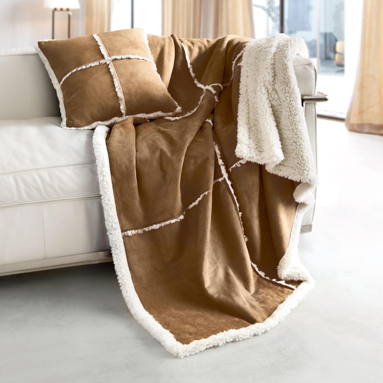 plaid kissen lammfell look mit 3 jahren garantie. Black Bedroom Furniture Sets. Home Design Ideas