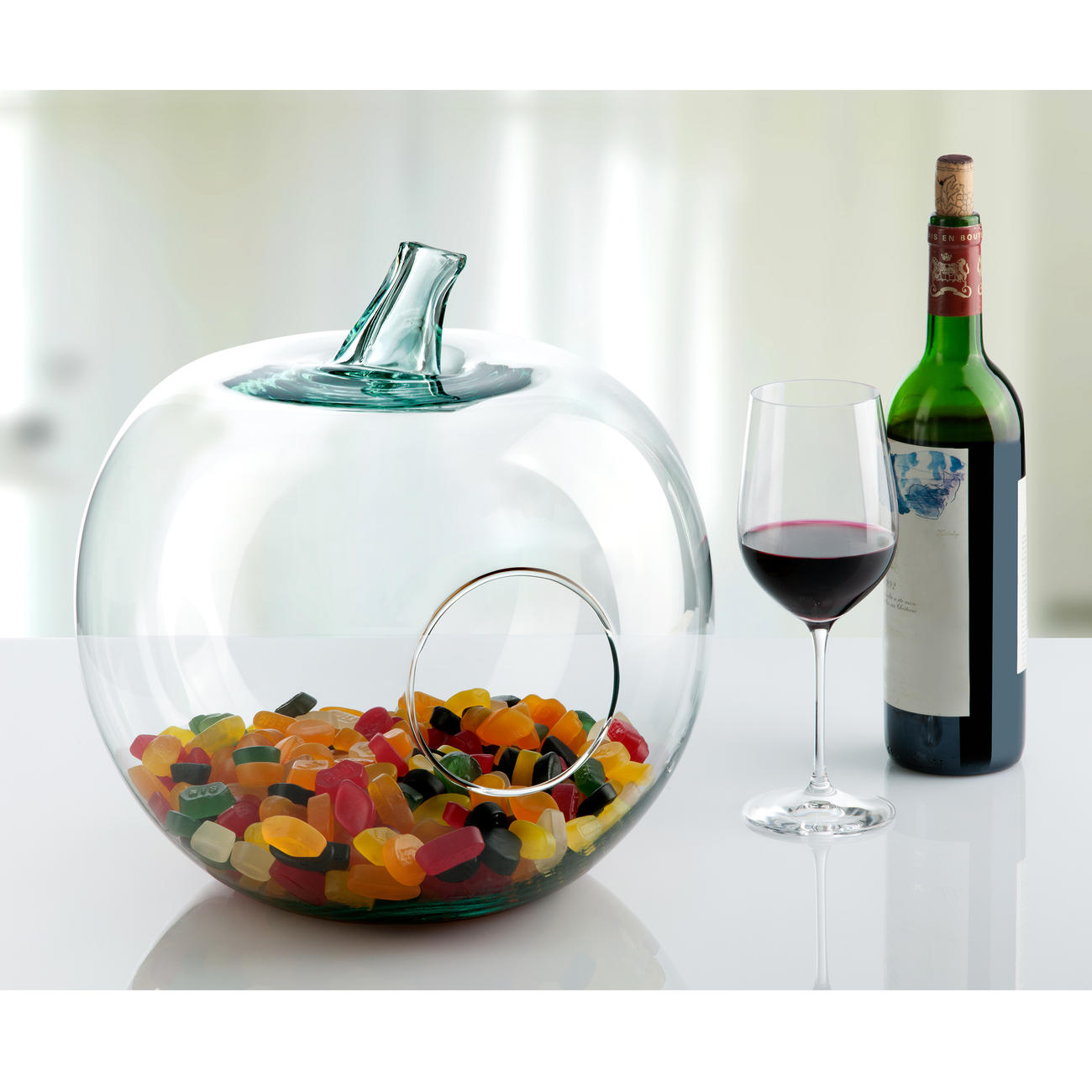 Casablanca Deko-Glas-Apfel Windlicht, 36 Cm H, 31 Cm