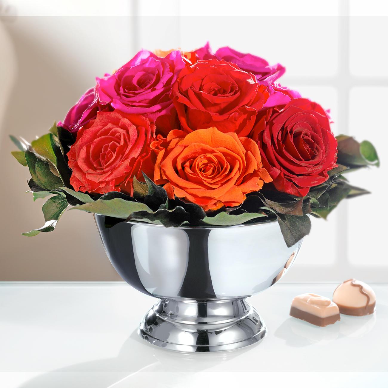 Echtes Rosengesteck 11 Rosen Und Schale Online Kaufen