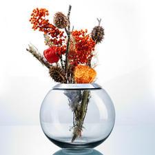 Mit dem mittleren Passring (6 cm Ø Öffnung) lassen sich auch herbstbunte Blätter, Tannengrün oder winterliche Trockengestecke besonders gut arrangieren.