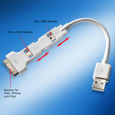Magic Cable Trio - Extrem praktisch: Ein Kabel für Ihr iPhone, iPad, iPod und Ihre anderen mobilen Geräte.