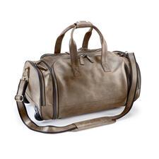 Bison Reisetrolley oder Reisetasche - Unverwüstliches Bisonleder. Riesiger Stauraum. Bequem seitlich zu packen.