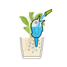 Über den Ton-Spieß bedient sich die Pflanze aus dem Wasserreservoir in der Figur.