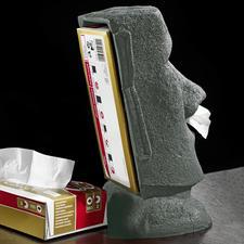 Das Geheimnis dieses Moais: eine Tissue-Box in der offenen Rückseite.