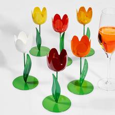 6 Metall-Tulpen, 15 cm H, Bunt