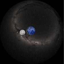 Projektionsscheibe: Erde und Mond bei Nacht