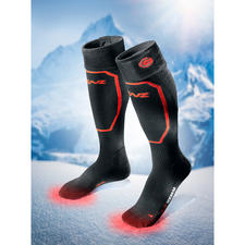 Heizstrümpfe mit oder ohne Akku-Pack, Paar - Passt in jeden Schuh. Wärmt bis zu 14 Stunden. Akkubetrieb ohne störende Kabel. Bequem per Bluetooth steuerbar.