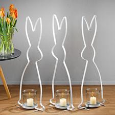 Hasensilhouette - Stilvolle Silhouetten-Skulptur. Hochaktuell im Vintage-Stil aus lackiertem Metall. Stattliche 72 (!) cm groß.