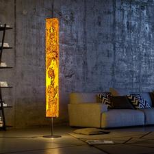 Design-Echtholz-Leuchte - Beleuchtung der Extraklasse: die eindrucksvolle LED-Stehleuchte aus laminiertem Olivesche-Holz. Jede ein Unikat.