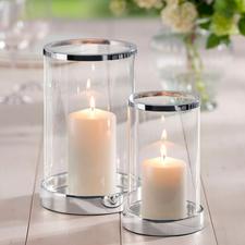 Windlicht versilbert, inkl. Kerze - Brillantes Kristallglas. Klassische Zylinderform. Sockel und Rand edel versilbert.