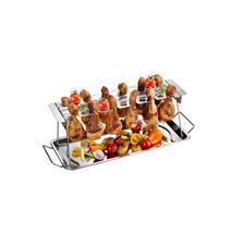 Die Auffang-/Servierschale verhindert, dass Fett auf dem Tisch landet.