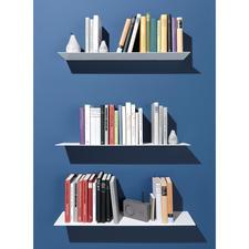 Die Halterungen verschwinden optisch, wenn Sie ein Buch darüber stülpen.
