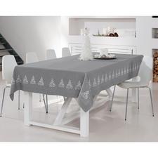 Maschinenbestickte Tischdecke - Elegante Leinenoptik. Dekorative Stick-Bordüre – ohne jeden Kitschverdacht.