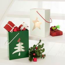 Tannenbaum, Grün/Weiß und Stern, Weiß/Rot