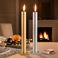 """""""Immer""""-Kerze - Verblüffender Effekt: Die elegante Stabkerze, die scheinbar nie herunterbrennt."""