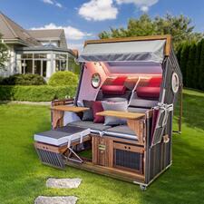 Korbwerk Luxus-Strandkorb - Luxuriöse Wohlfühl-Insel für zwei. Und für Jahrzehnte. Der Premium-Strandkorb mit Wellness-Ausstattung.