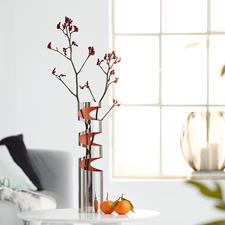 LOOM Vase - Trendiges Edelstahl-Design mit markanten Aussparungen und innen orangefarben lackiert. Jede Vase ein Unikat.