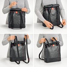 Mit einem Zug an den Henkeln verwandeln Sie die Lunchbag von einer Schultertasche in einen Rucksack und umgekehrt.