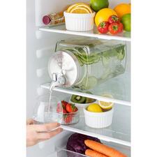 Getränkespender Fresh&Cold - Platzsparend rechteckig (statt rund). Hygienisch aus Glas (statt Kunststoff). Im angesagten Retro-Style. Perfekt auch für (Garten-)Party, gesellige Runden, Buffet, ...