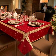 Tischdecke oder Tischläufer Schleife - Tischwäsche mit prachtvollem 3D-Schleifendekor – aufwändig als Jacquard gewebt.