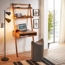 Eiche-Anstellsekretär - Auf kleinstem Raum: Großzügige Ablagefläche mit integriertem Schreibtisch.