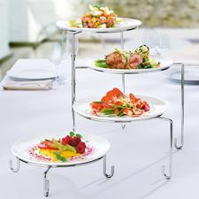 Schwenk-Etagere/Tellerhalter - In einem auch Ihre praktische Teller-Stellage beim Anrichten.