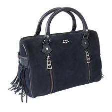 Zadig & Voltaire Bowling-Bag - Trendsetter unter den Taschen: Bowling-Form + Blau + Fransen.