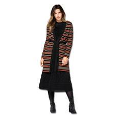 Long-Cardigan und Midi-Kleid