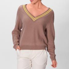 Stricktrend de luxe: Pullover im angesagten Cricket-Style. Naturtöne mit Limonengelb. Aus reinem Kaschmir. Von FTC Cashmere.
