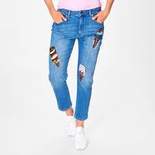 Love Moschino Cropped ice-cream-Jeans - Trend-Thema bestickte Jeans. Die von Love Moschino hat Kult-Charakter.