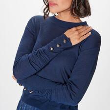 Liu Jo Basic-Stehkragen-Pulli - Fashion-Favourite Basic-Pulli de luxe: bei Liu Jo schon längst etabliert. Modischer Short-Cut. Edles Navy. Geraffte Schmuck-Ärmel.