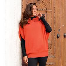Oversize-Kapuzen-Pullunder - Geniale Kreuzung aus Pullunder, Pullover und Poncho. Und Aufsehen erregendes Highlight vieler Outfits.