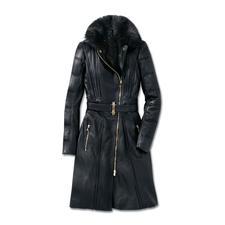 Versace Collection Lammleder-Bikermantel - Versaces Biker-Trend de luxe: Feminin sexy. Modisch rockig. Und winterwarm.