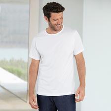 Kurzarm, Rundhals-Shirt, Weiß