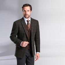 Carl Gross Harris Tweed-Sakko oder -Weste - Original Harris Tweed von den Äußeren Hebriden – aber viel feiner und       leichter als üblich. Von Carl Gross.