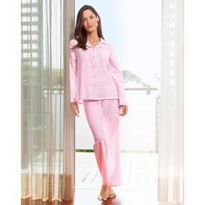 NOVILA Flanell-Pyjama Vichykaro - Für den ersten guten Eindruck am Morgen. Aus weichem Baumwoll-Flanell. In femininem rosa/weißem Vichy-Karo.