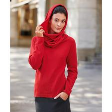 Vario-Kragen-Kaschmirpullover, Rot - 1 Pullover – 3 Looks. Dank XXL-Vario-Kragen. Aus reinem, mongolischem Kaschmir.