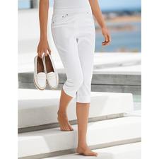 Raphaela by Brax Capri-Komfort-Jeggings, Weiß - Endlich: bequeme Jeggings, die auch zu kurzen Oberteilen tragbar sind. Optisch nah an konfektionierten Hosen.