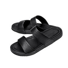 Lagerfeld Kalbleder-Sandale - Die stilvolle Art Sandalen zu tragen. Puristisches Lagerfeld-Design. Schlichtes Schwarz. Edles Kalbleder.