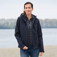 Aigle 3-in-1 Damen-Allwetterjacke - Die eine Jacke für jedes Wetter. Wind- und wasserdichtes Softshell mit wärmender Primaloft®-Weste zum Auszippen.