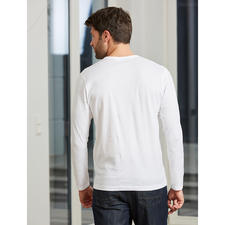 Langarm, Rundhals-Shirt, Weiß