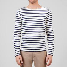 Langarm-Shirt, Ecru/Marine