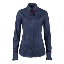 van Laack Jeansbluse - Denim-Look mit businesstauglicher Blusen-Eleganz. Aus merzerisierter Baumwolle fein gewebt.