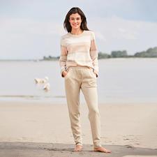 HFor Streifen-Sweatshirt und -Hose,  beige-meliert - Der Loungewear-Anzug vom belgischen Newcomer-Label HFor.