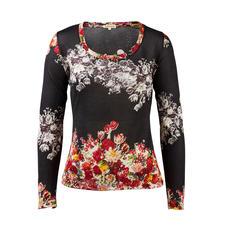 Pashma 30-Gauge-Blütenpullover, schwarz - So luxuriös (und dennoch bezahlbar) sind die wenigsten modischen Print-Pullover. Von Pashma, Indien.