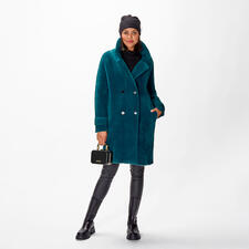 Pinko Cardi-Coat - Trend-Piece Cardi-Coat. Von Pinko modisch perfektioniert: Zweireiher aus gestricktem Jersey in Teddyfell-Optik und in angesagtem Petrol-Ton.