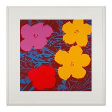 Andy Warhol – Flowers rot - Sunday B. Morning Siebdruck auf 1,52 mm starkem Museumskarton. Maße: gerahmt 112 x 112 cm