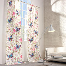 """Vorhang """"Paradise Garden"""", 1 Vorhang - Paradiesische Kombination: Zarter Aquarell-Print mit farbstarker  Nadelmalerei."""
